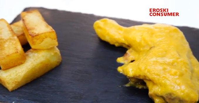 Muslitos de pollo en salsa de cebolla y zanahoria