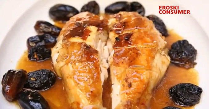 Tacos de pechuga de pollo asado con ciruelas pasas y dátiles