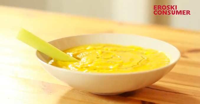 Puré de zanahoria, puerro y lechuga