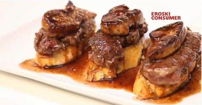 Solomillo con foie y salsa de oporto